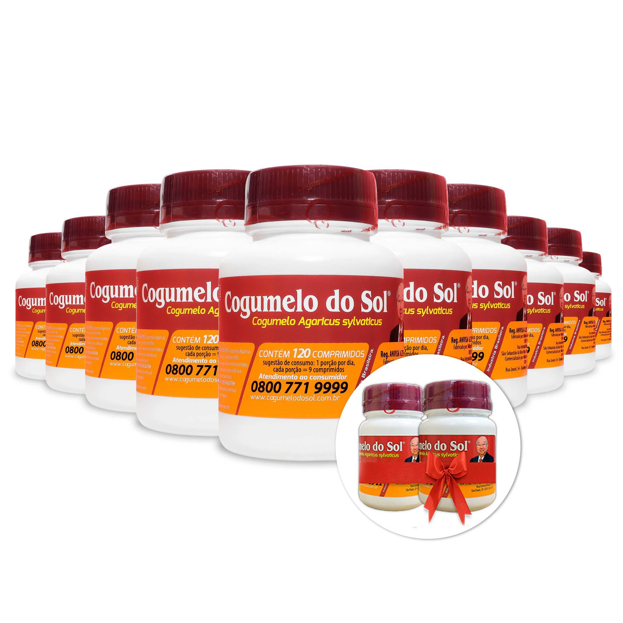 Kit 10 Frascos Cogumelo do Sol® - Ganhe + 02 Frascos com 60 comprimidos