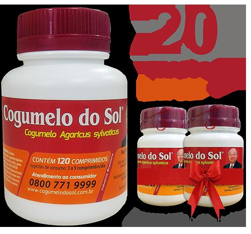 Cogumelo do Sol®  Agaricus sylvaticus - 20 FRASCOS  - Ganhe 2 Frascos com 60 comprimidos