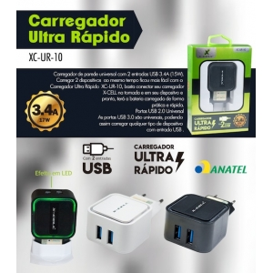 CARREGADOR ULTRA RÁPIDO 2 USB 17W 3.4A XC-UR-10 XCELL
