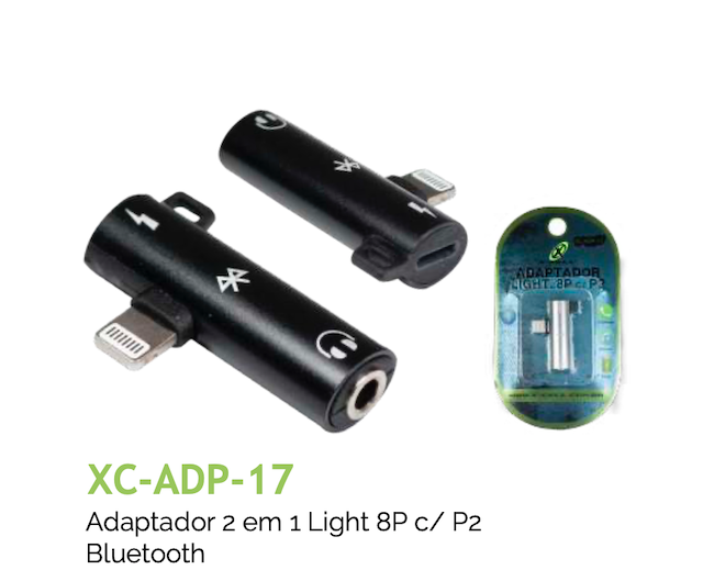 ADAPTADOR 2 EM 1 LIGHT 8P c/ P2 BLUETOOTH XC-ADP-17 XCELL