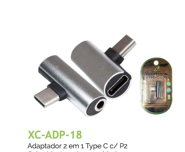 ADAPTADOR 2 EM 1 TIPO-C C/ P2 XC-ADP-18 XCELL