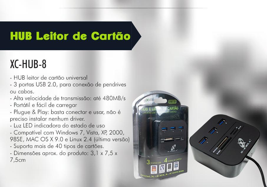 ADAPTADOR HUB USB 3 PORTAS 2.0 COM LEITOR DE CARTOES XCELL