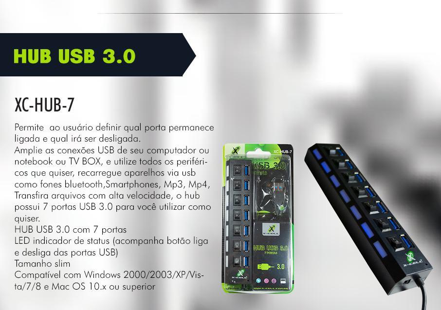 ADAPTADOR HUB USB 7 PORTAS USB 3.0 XCELL