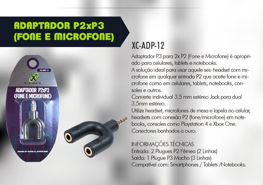 ADAPTADOR P3 PARA 2X P2 XC-ADP-12 XCELL