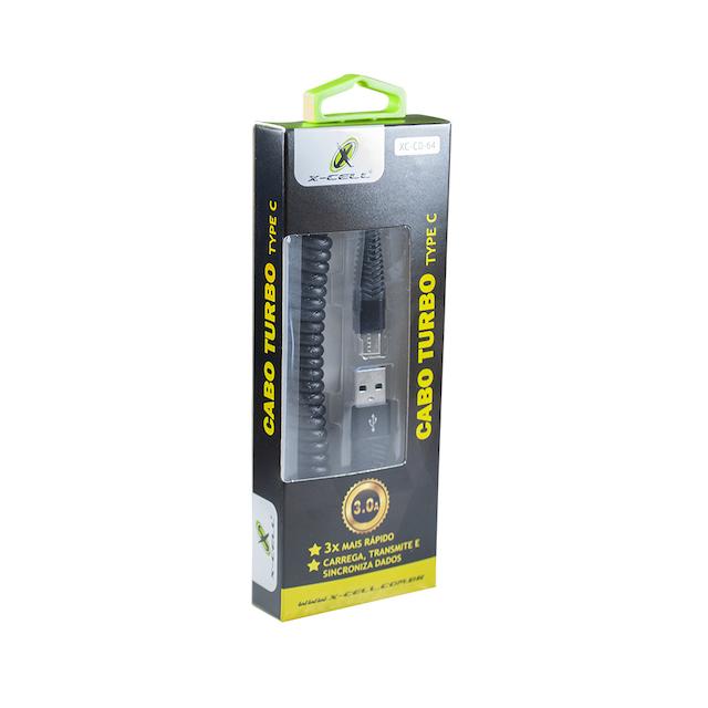 CABO ESPIRAL TIPO C TURBO USB 3.0A 1,2 METRO