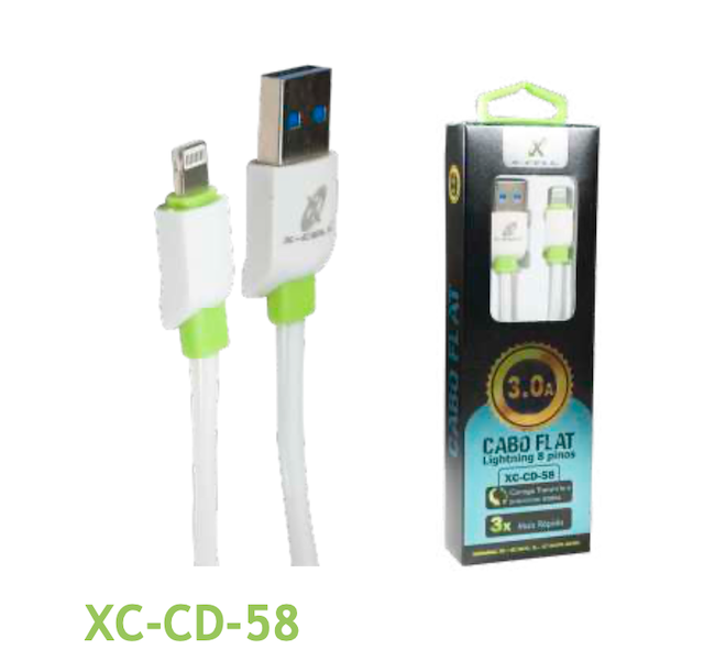 CABO FLAT IPHONE TURBO USB 3.0A 1 METRO XC-CD-58 XCELL