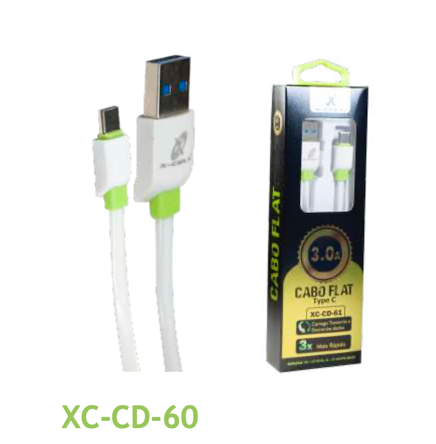 CABO FLAT TIPO-C TURBO USB 3.0A 1 METRO XC-CD-60 XCELL