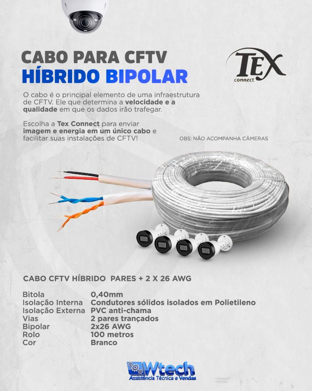 CABO HIBRIDO CFTV 40/4 VIAS + 2X26 AWG 100MTS