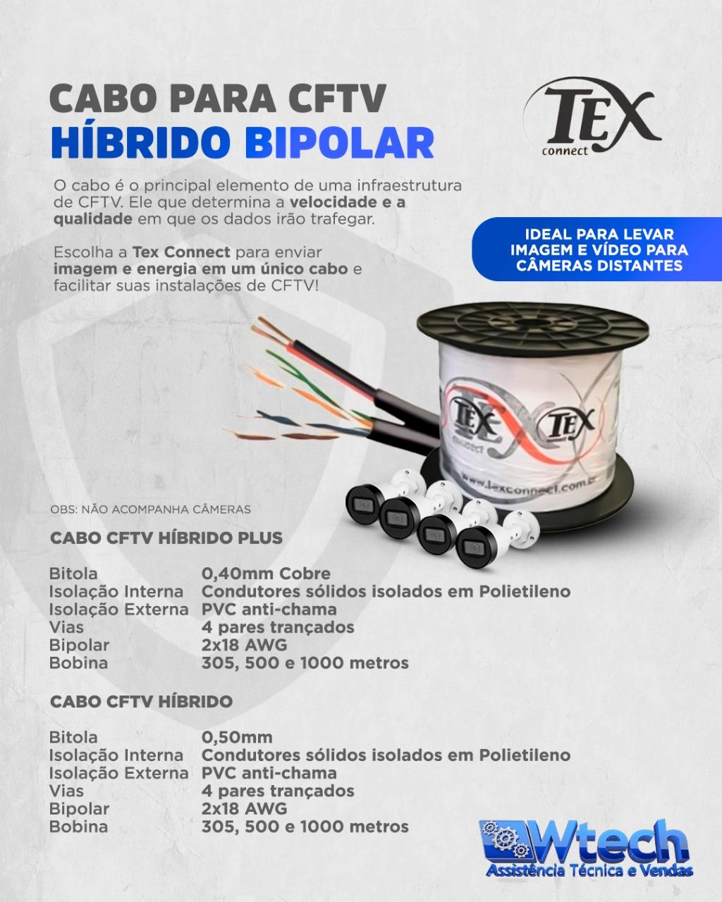 CABO HIBRIDO CFTV 50/8 VIAS + BIPOLAR 1MM ALIMENTAÇÃO 100MTS