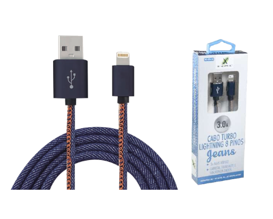 CABO IPHONE TURBO USB 3.0A 1 METRO JEANS XCELL
