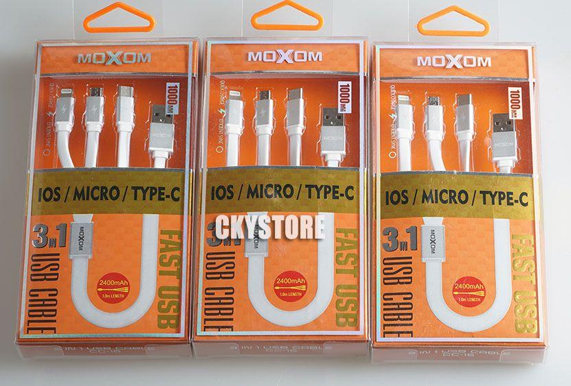 Cabo Usb 3 in 1 (Micro USB, Lightning, USB tipo C) Reforçado Moxom
