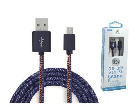 CABO V8 TURBO USB 3.0A 1 METRO JEANS XCELL