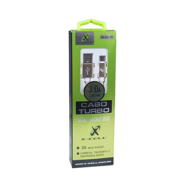 CABO V8 TURBO USB 3.0A 2 METROS XCELL