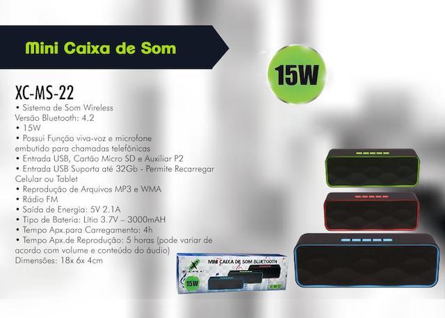 CAIXA DE SOM BLUETOOTH BATERIA 15W XC-MS-22 XCELL