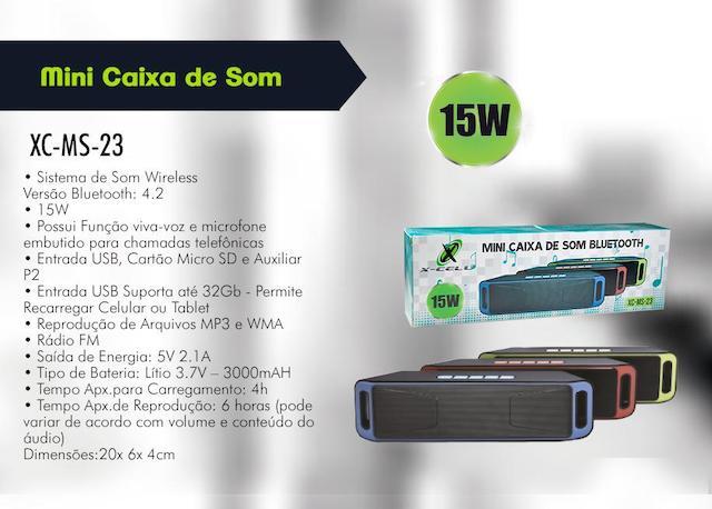 CAIXA DE SOM BLUETOOTH BATERIA 15W XC-MS-23 XCELL