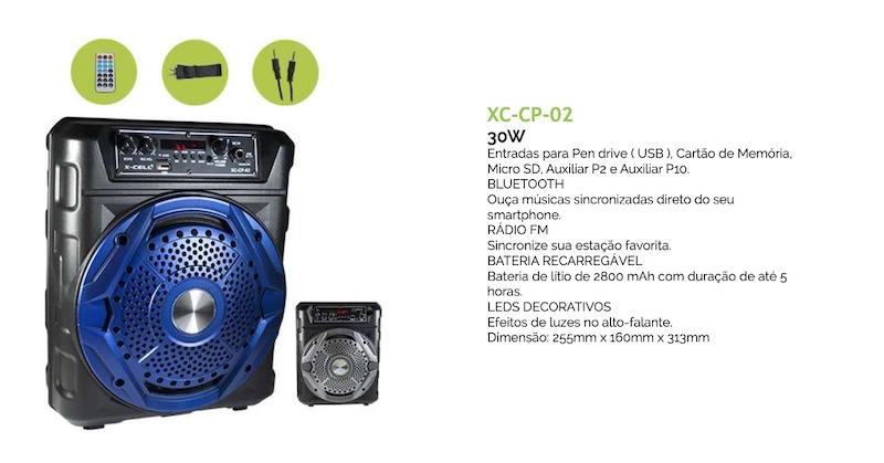 CAIXA DE SOM BLUETOOTH C/ BATERIA APLIFICADA 30W XC-CP-02 XCELL