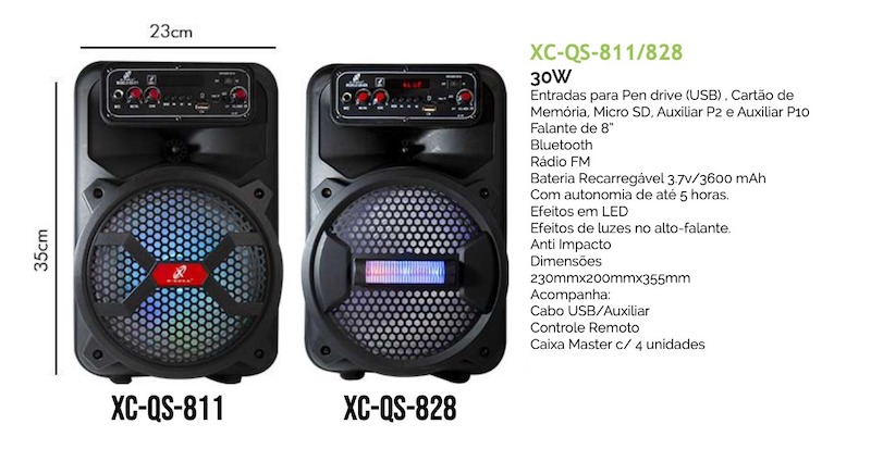 CAIXA DE SOM BLUETOOTH C/ BATERIA APLIFICADA 30W XC-QS-811 XCELL