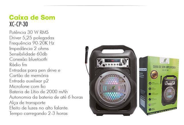 CAIXA DE SOM BLUETOOTH C/ MICROFONE BATERIA APLIFICADA 30W XC-CP-30 XCELL