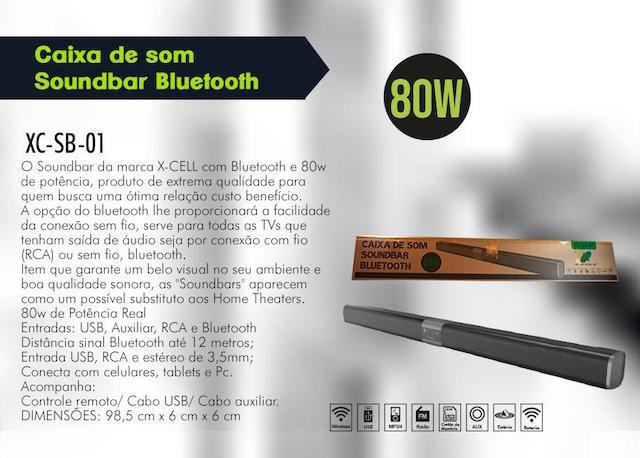 CAIXA DE SOM SOUNDBAR BLUETOOTH XC-SB-01 XCELL