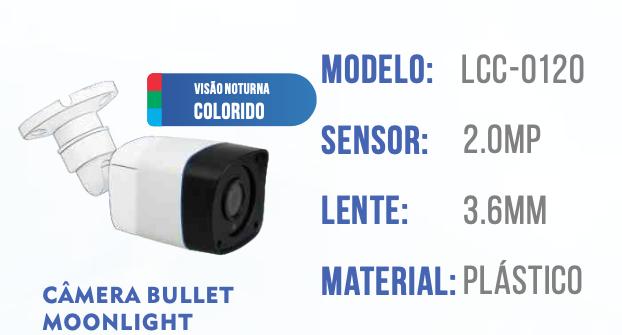 CAMERA 1080P COLORIDA A NOITE INTERNA/ EXTERNA LCC0120 LUATEK