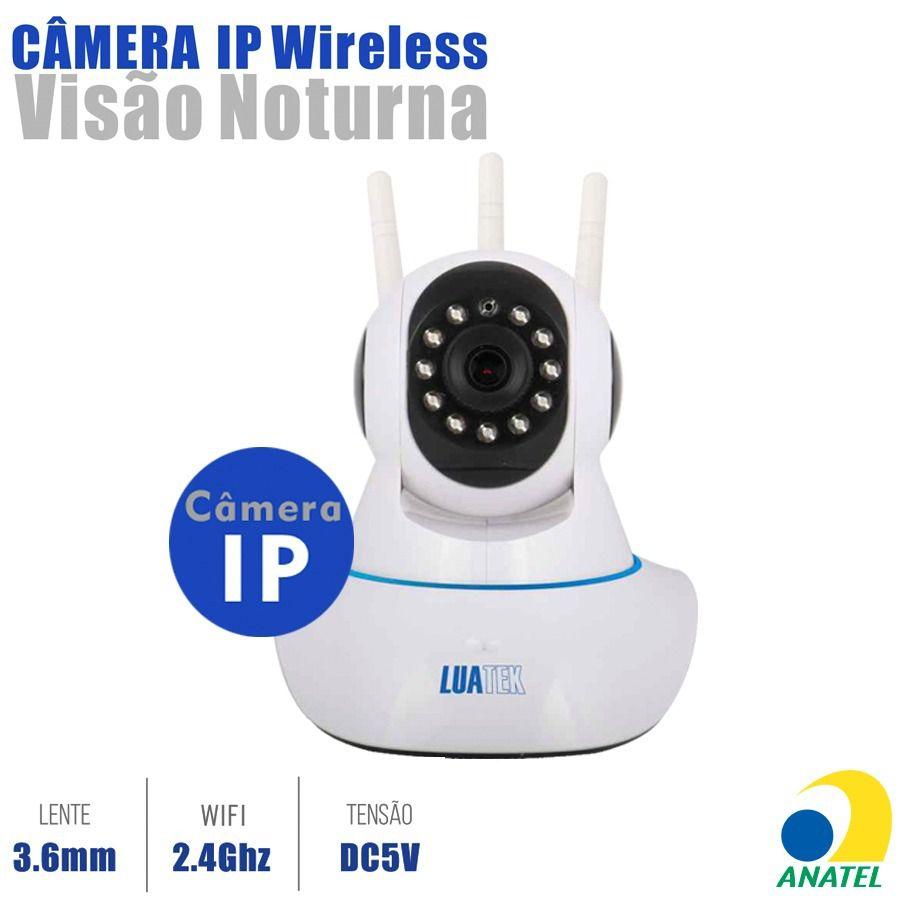 Câmera HD Wi-FI com áudio e rotação 355 graus 3 Antenas LKW-1310VN Luatek