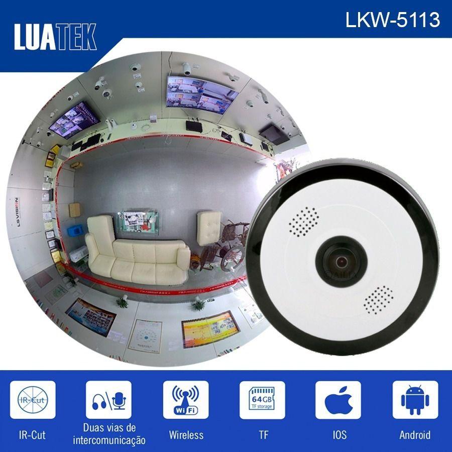 Câmera Panorâmica Ip Wifi 360° Infravermelho Microfone 1.4mm