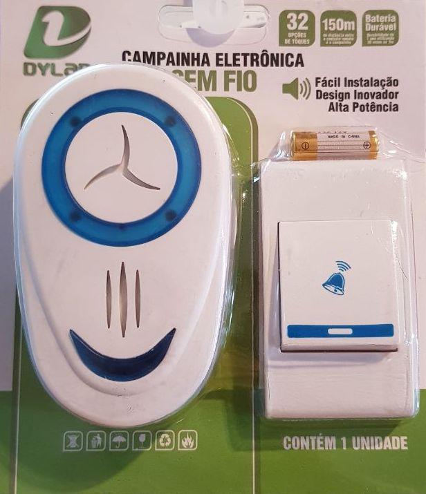 Campainha Sem Fio 32 Toques Led Wireless Bivolt 150 Metros
