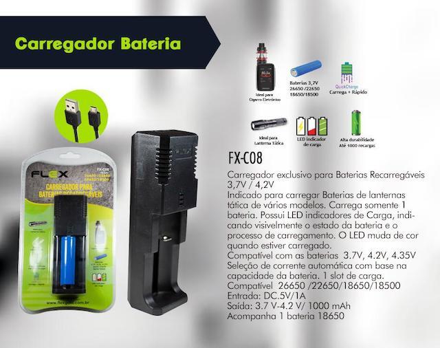 CARREGADOR BATERIAS LANTERNA, VAPE E OUTROS FX-C08 XCELL