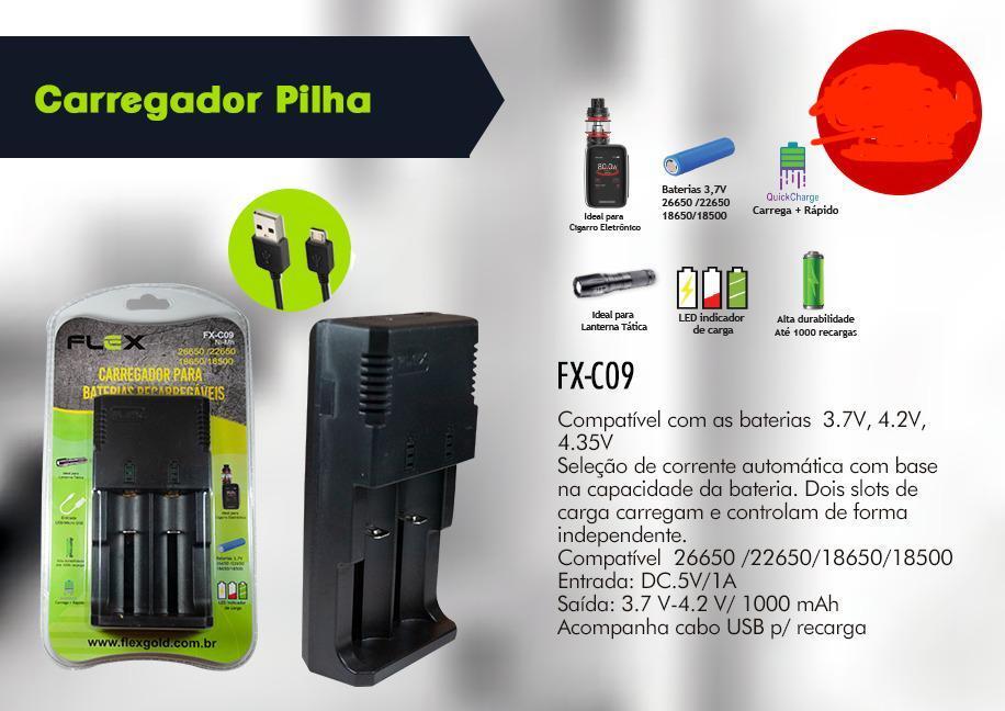 CARREGADOR BATERIAS LANTERNA, VAPE E OUTROS FX-C09 XCELL