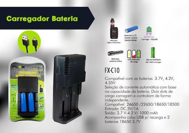 CARREGADOR BATERIAS LANTERNA, VAPE E OUTROS FX-C10 XCELL