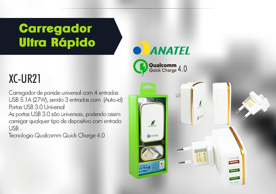 CARREGADOR RAPIDO 3 USB 5.1A XC-UR-21 XCELL