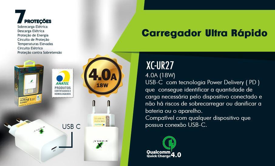 CARREGADOR RÁPIDO USB TIPO C 18W 4.0A XC-UR-27 XCELL