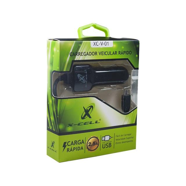CARREGADOR VEICULAR COM CABO V8 E USB 2.5A XCELL