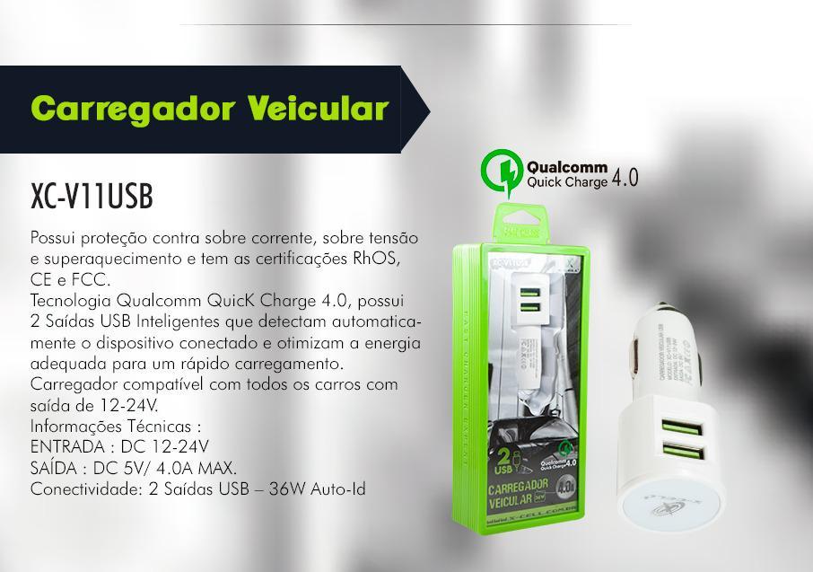 CARREGADOR VEICULAR DUPLA SAIDA 4.0A XCELL