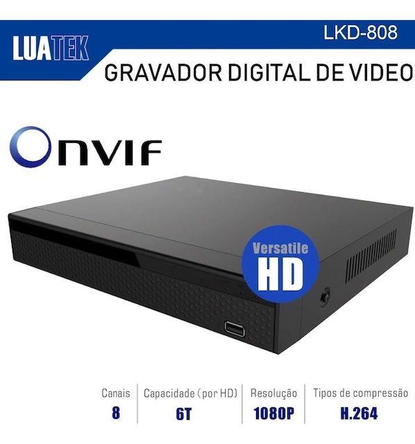 DVR 8 CANAIS 1080P HIBRIDO VERSATILE AHD CVI ANALÓGICO IP E TVI LKD-808