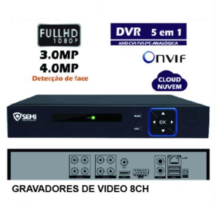 DVR 8 Canais Detecção Face FULL HD 1080P SC-9108 SEMI