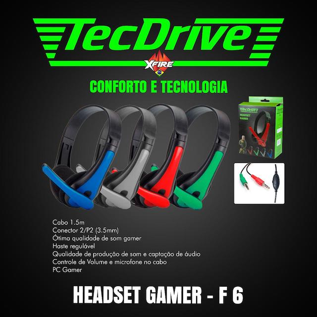 FONE HEADSET GAMER F-6 TECHDRIVE