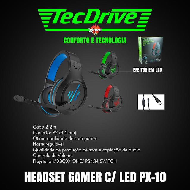 FONE HEADSET GAMER PX-10 LED TECHDRIVE