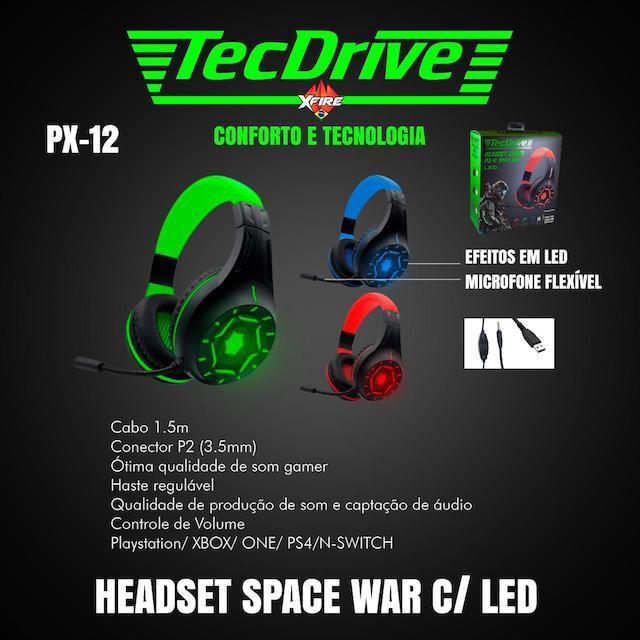FONE HEADSET GAMER PX-12 LED TECHDRIVE
