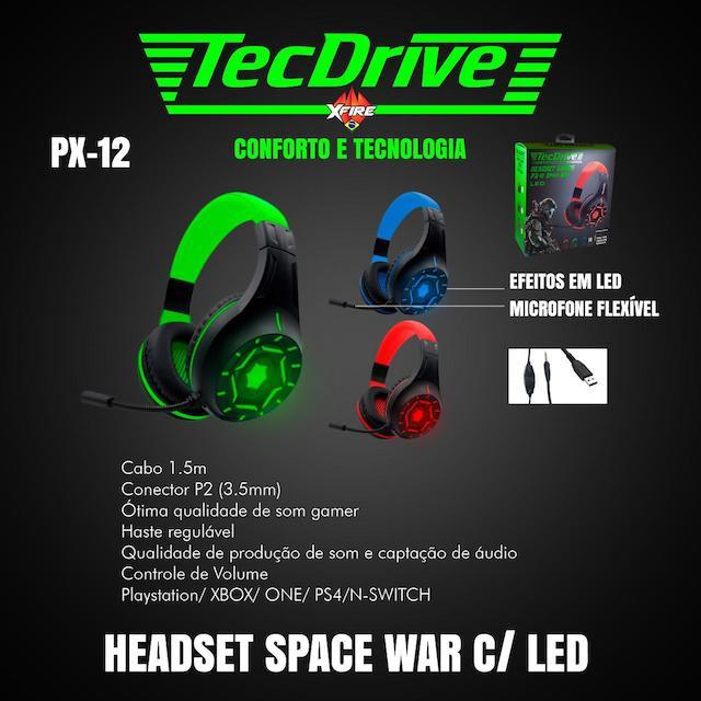 FONE HEADSET GAMER PX-12 LED TECHDRIVE