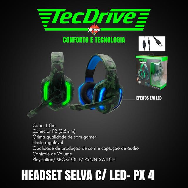 FONE HEADSET GAMER PX-4 LED TECHDRIVE