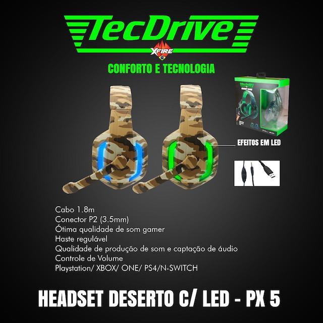 FONE HEADSET GAMER PX-5 LED TECHDRIVE