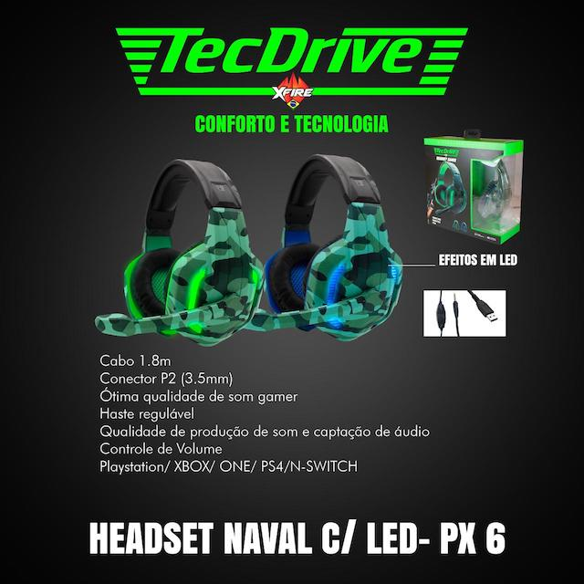 FONE HEADSET GAMER PX-6 LED TECHDRIVE