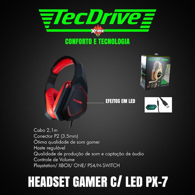 FONE HEADSET GAMER PX-7 LED TECHDRIVE