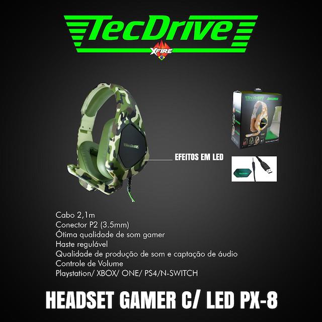 FONE HEADSET GAMER PX-8 LED TECHDRIVE