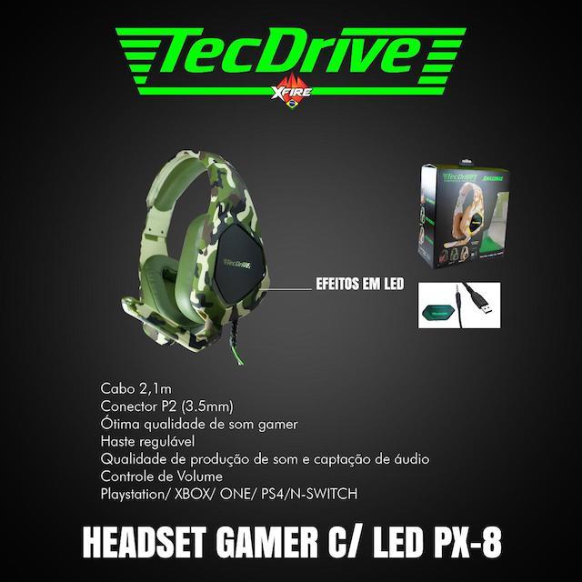 FONE HEADSET GAMER PX-8 LED TECHDRIVE