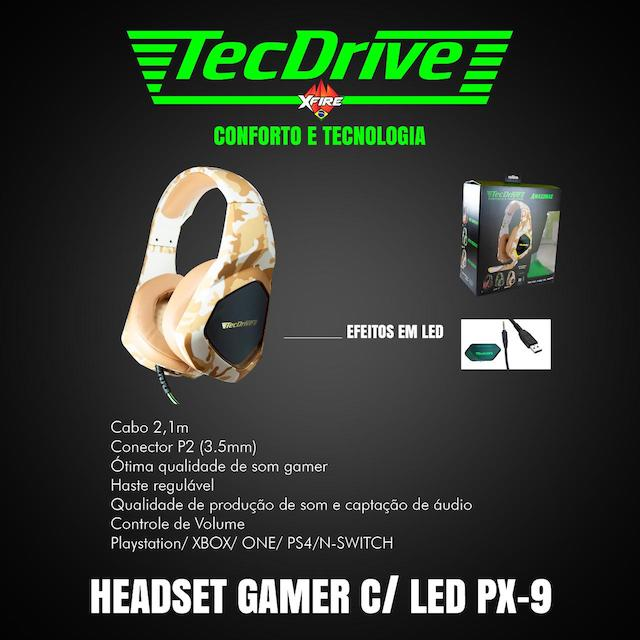 FONE HEADSET GAMER PX-9 LED TECHDRIVE