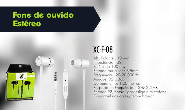 FONE OUVIDO P2 INTRA-AURICULAR EXTRA BASS XC-F-08 XCELL