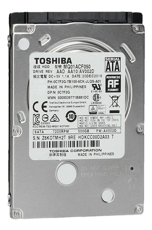 HD 500GB TOSHIBA 7200rpm SLIN NOTEBOOK