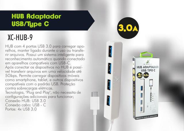 HUB ADAPTADOR TIPO C 4 PORTAS USB 3.0 XC-HUB-9 XCELL